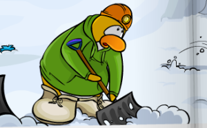 penguin-shoveling-snow